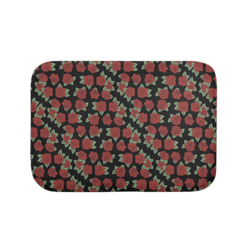 Bloody roses on black Home Bath Mat by Hello Siyi
