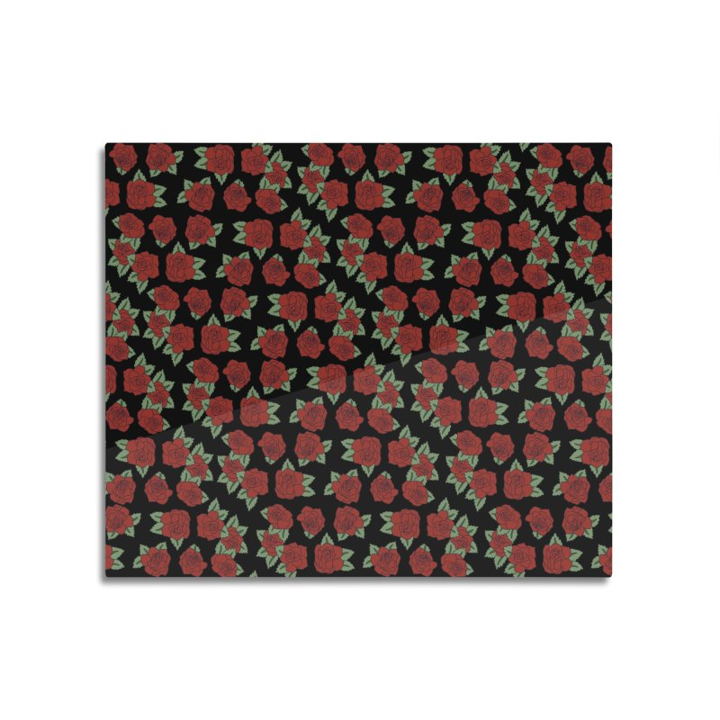 Bloody roses on black Home Mounted Aluminum Print by Hello Siyi