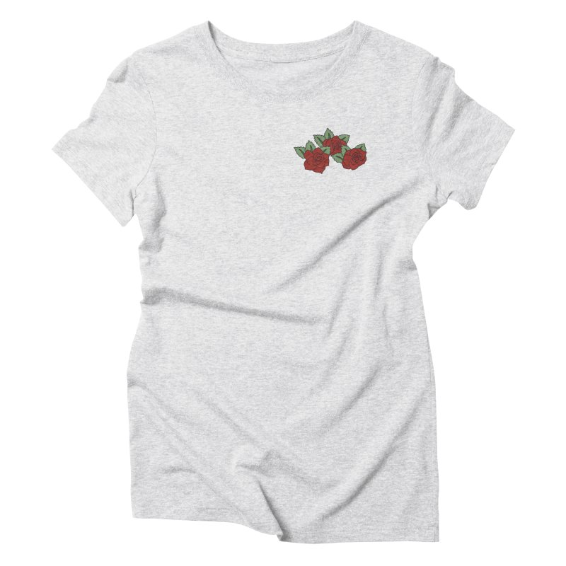 Bloody roses on black in Women's Triblend T-Shirt Heather White by Hello Siyi