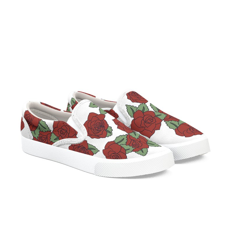 Bloddy roses on white Women's Slip-On Shoes by Hello Siyi