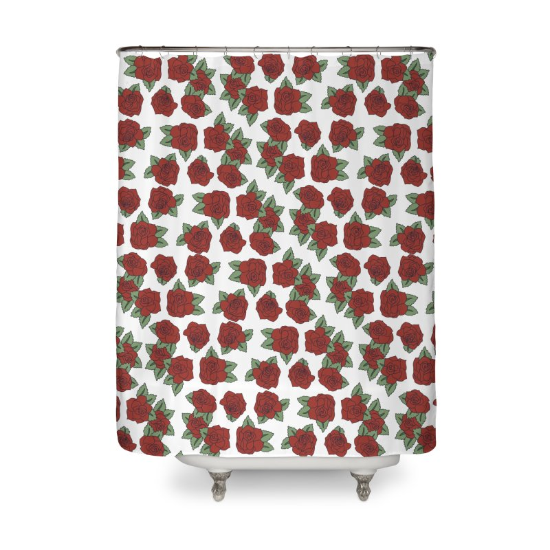 Bloddy roses on white Home Shower Curtain by Hello Siyi