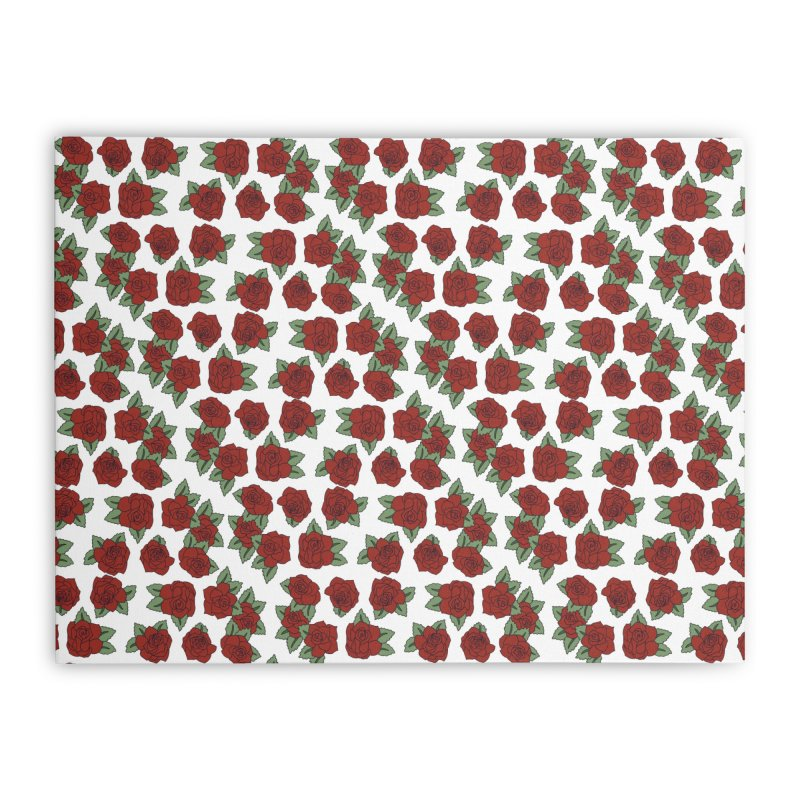 Bloddy roses on white Home Stretched Canvas by Hello Siyi