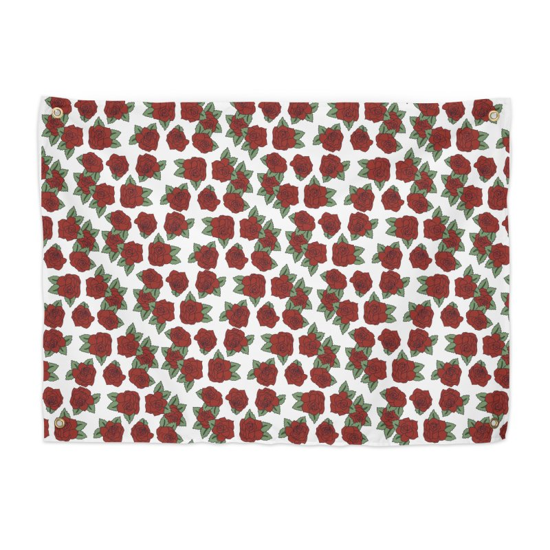 Bloddy roses on white Home Tapestry by Hello Siyi