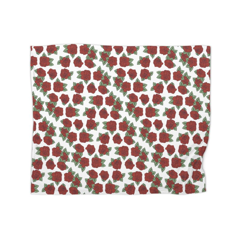 Bloddy roses on white Home Blanket by Hello Siyi