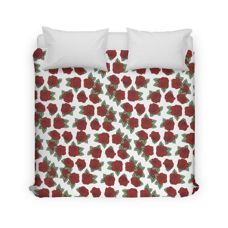 Bloddy roses on white Home Duvet by Hello Siyi