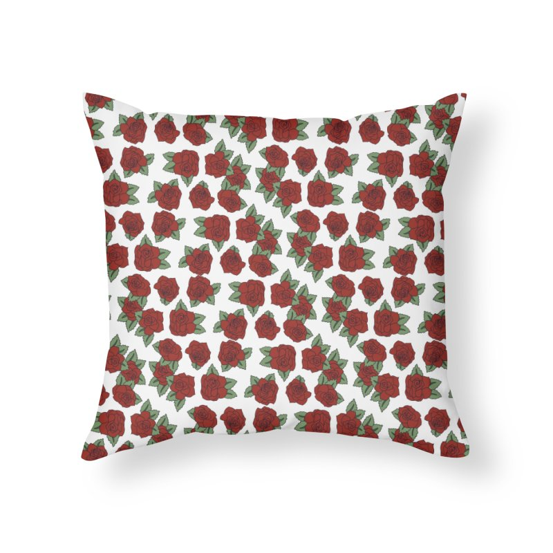 Bloddy roses on white Home Throw Pillow by Hello Siyi