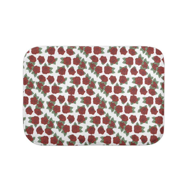 Bloddy roses on white Home Bath Mat by Hello Siyi