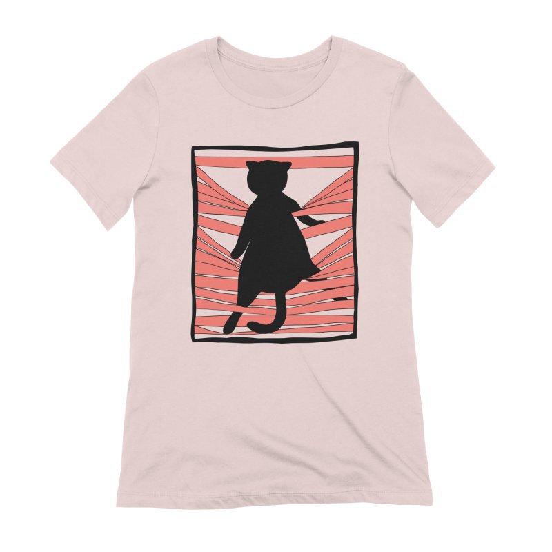 Cat playing with blinds Women's Extra Soft T-Shirt by Hello Siyi
