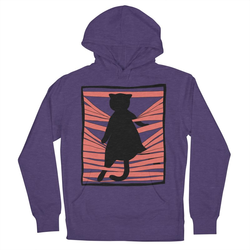 Cat playing with blinds Men's French Terry Pullover Hoody by Hello Siyi