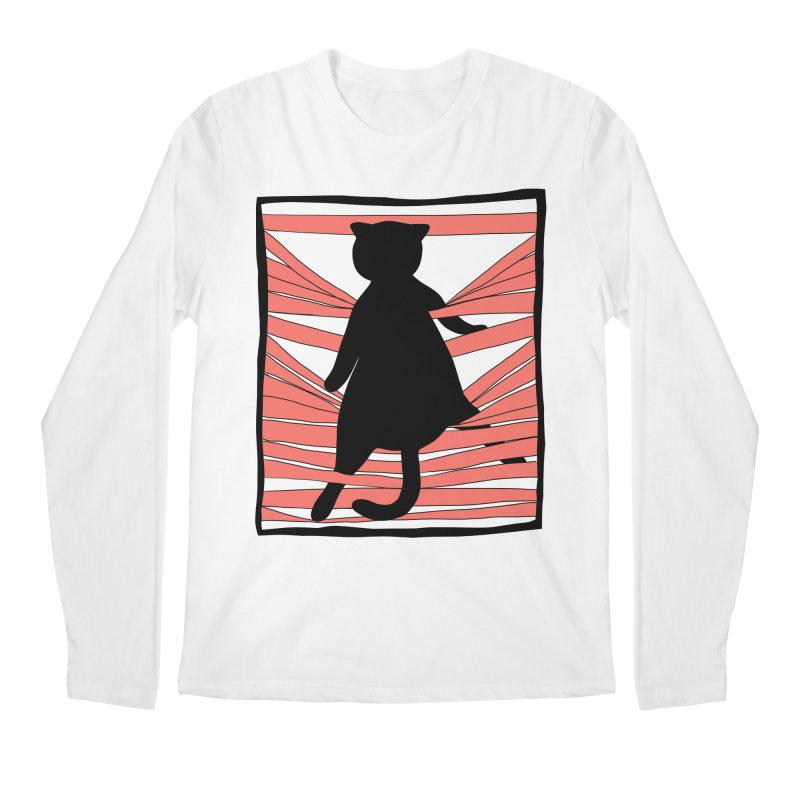 Cat playing with blinds Men's Regular Longsleeve T-Shirt by Hello Siyi