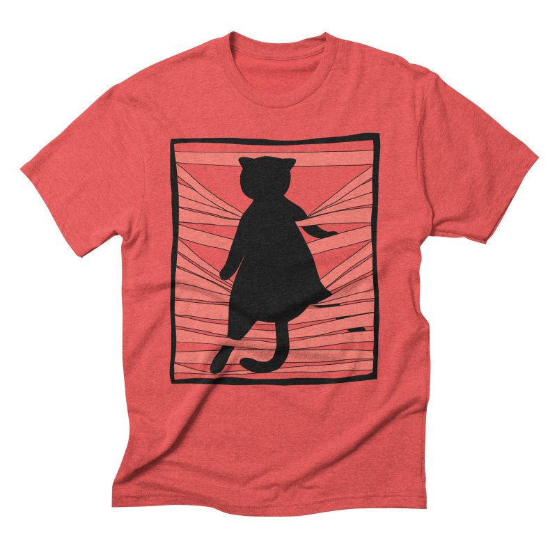 Cat playing with blinds Men's Triblend T-Shirt by Hello Siyi