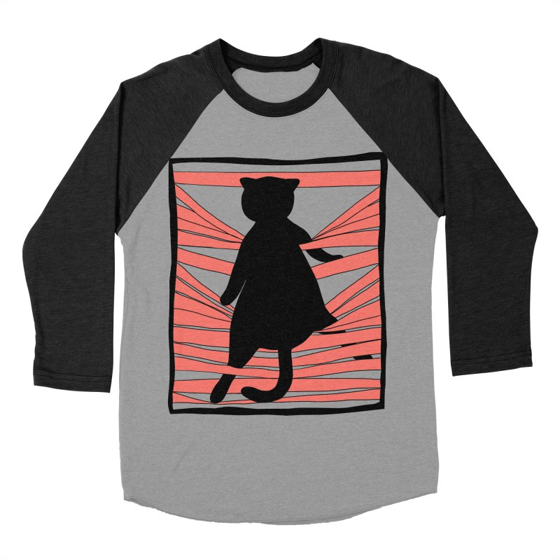 Cat playing with blinds Men's Baseball Triblend Longsleeve T-Shirt by Hello Siyi