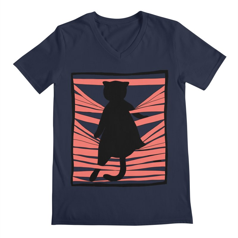 Cat playing with blinds Men's Regular V-Neck by Hello Siyi