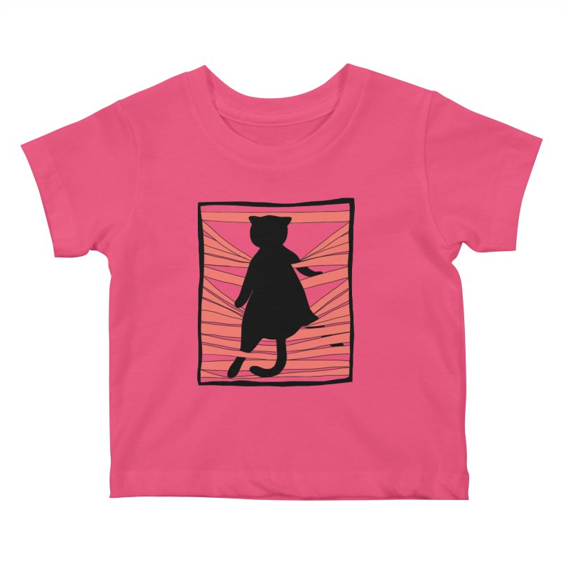 Cat playing with blinds Kids Baby T-Shirt by Hello Siyi