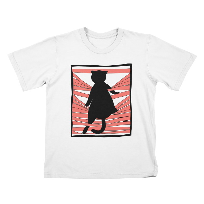 Cat playing with blinds Kids T-Shirt by Hello Siyi