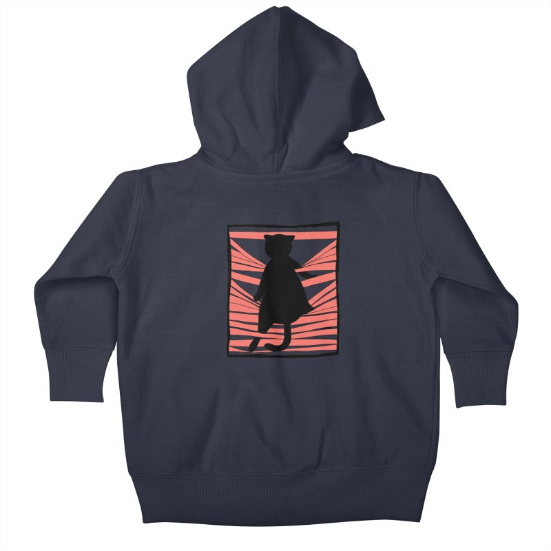 Cat playing with blinds Kids Baby Zip-Up Hoody by Hello Siyi