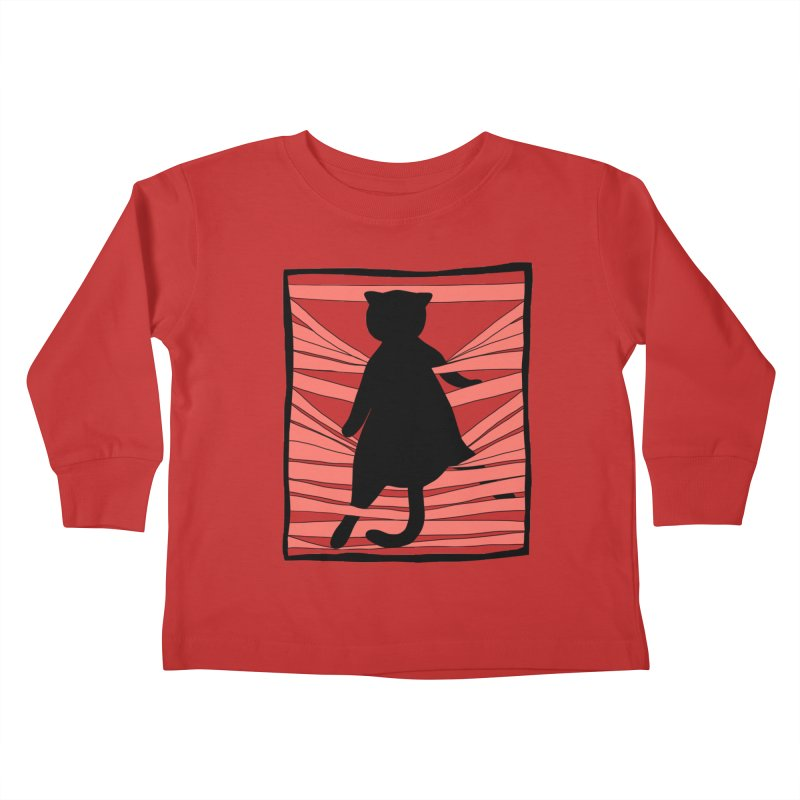 Cat playing with blinds Kids Toddler Longsleeve T-Shirt by Hello Siyi