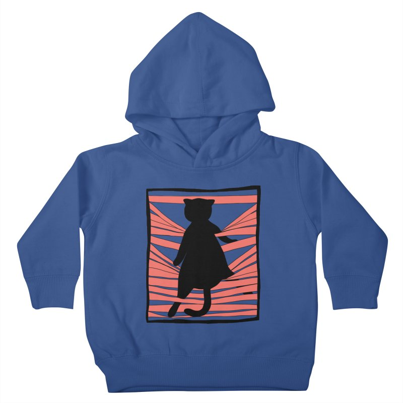 Cat playing with blinds Kids Toddler Pullover Hoody by Hello Siyi