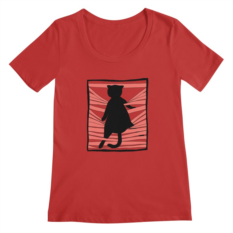 Cat playing with blinds Women's Regular Scoop Neck by Hello Siyi