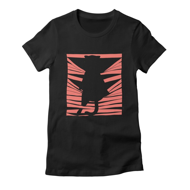 Cat playing with blinds Women's Fitted T-Shirt by Hello Siyi
