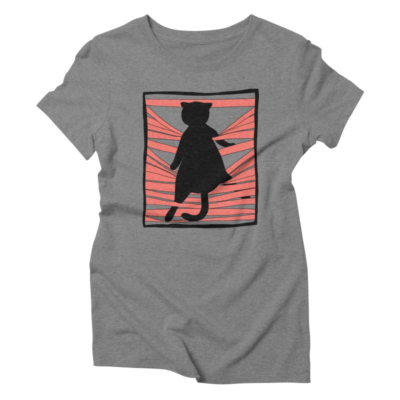Cat playing with blinds Women's Triblend T-Shirt by Hello Siyi