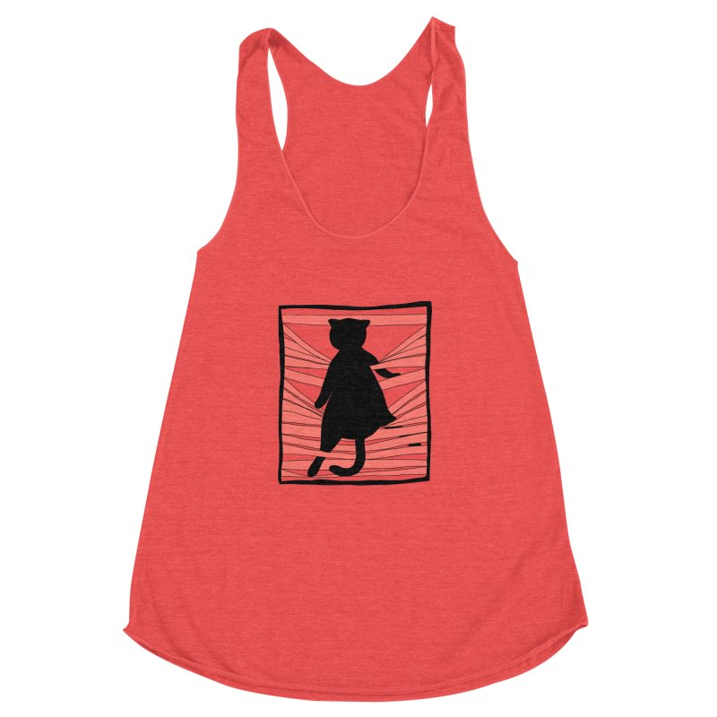 Cat playing with blinds Women's Racerback Triblend Tank by Hello Siyi