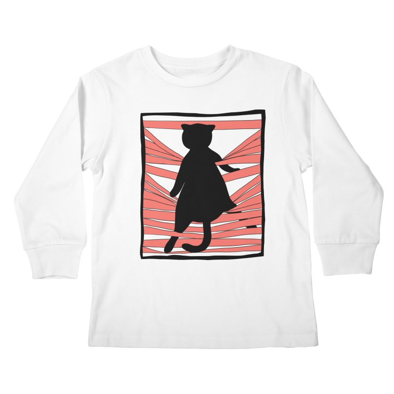 Cat playing with blinds Kids Longsleeve T-Shirt by Hello Siyi