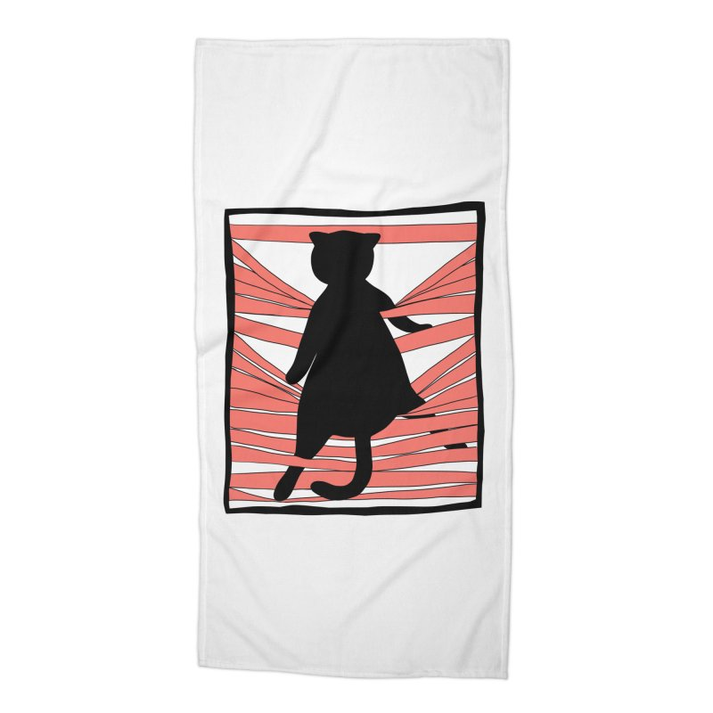 Cat playing with blinds Accessories Beach Towel by Hello Siyi