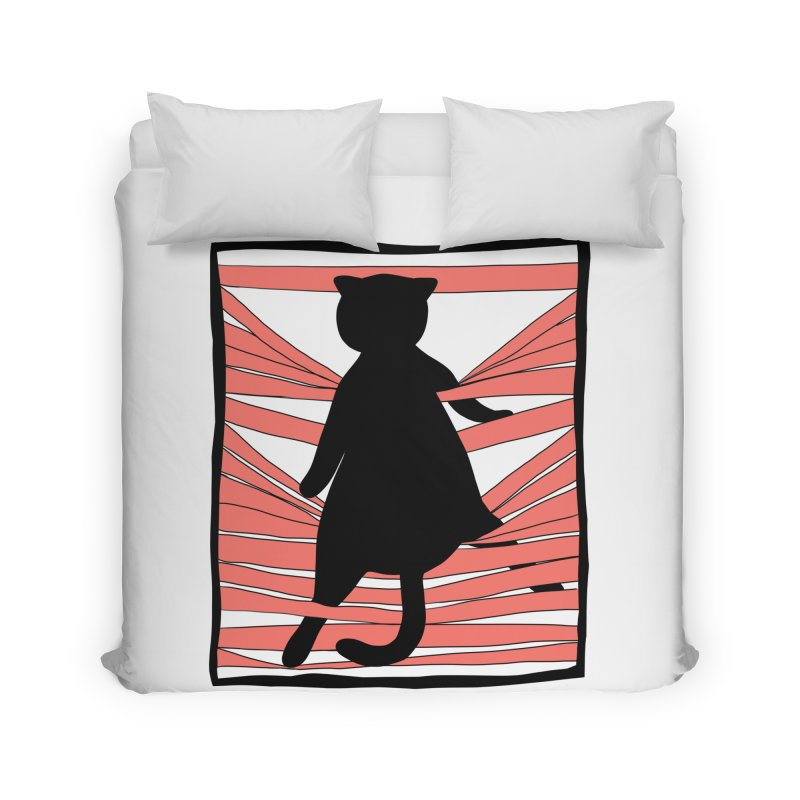 Cat playing with blinds Home Duvet by Hello Siyi