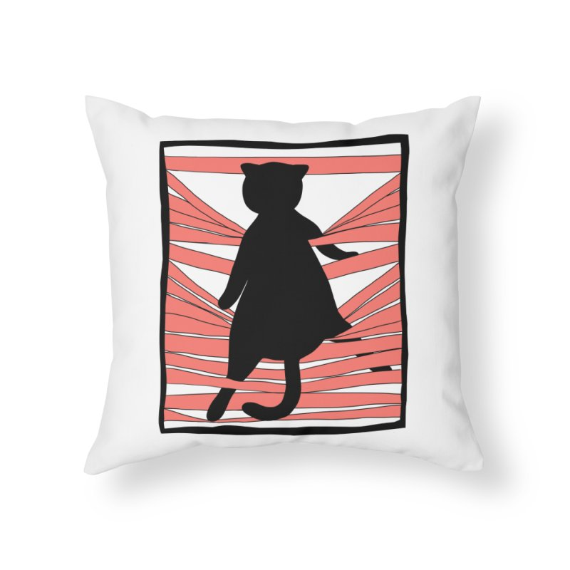 Cat playing with blinds Home Throw Pillow by Hello Siyi