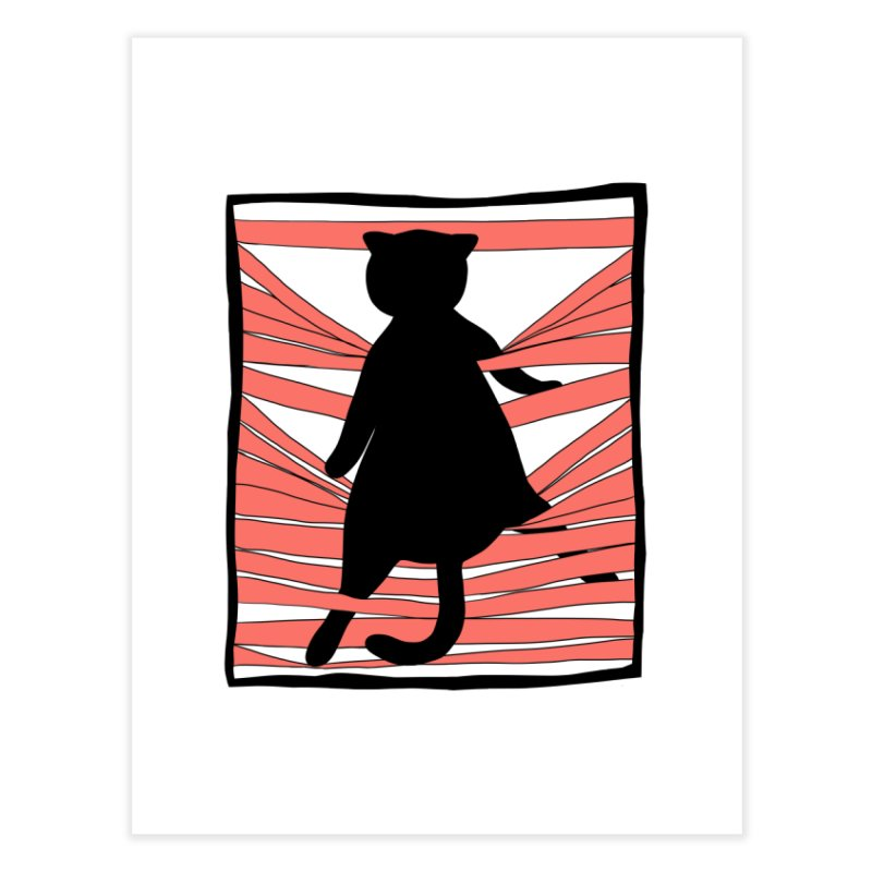 Cat playing with blinds Home Fine Art Print by Hello Siyi