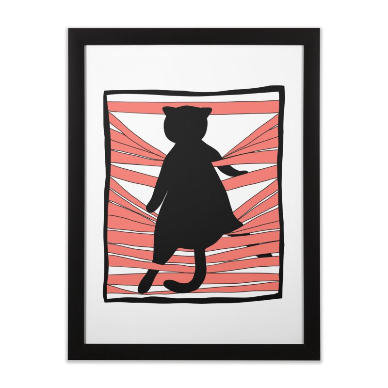Cat playing with blinds Home Framed Fine Art Print by Hello Siyi
