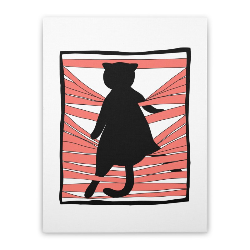 Cat playing with blinds Home Stretched Canvas by Hello Siyi