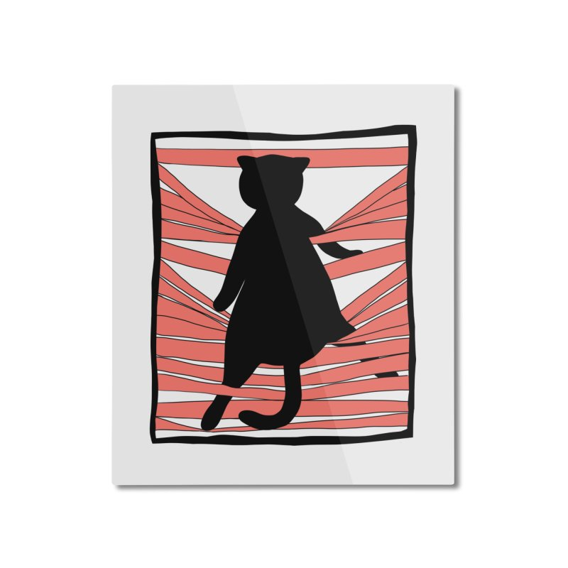 Cat playing with blinds Home Mounted Aluminum Print by Hello Siyi