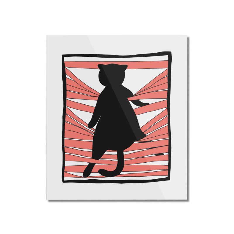 Cat playing with blinds Home Mounted Acrylic Print by Hello Siyi