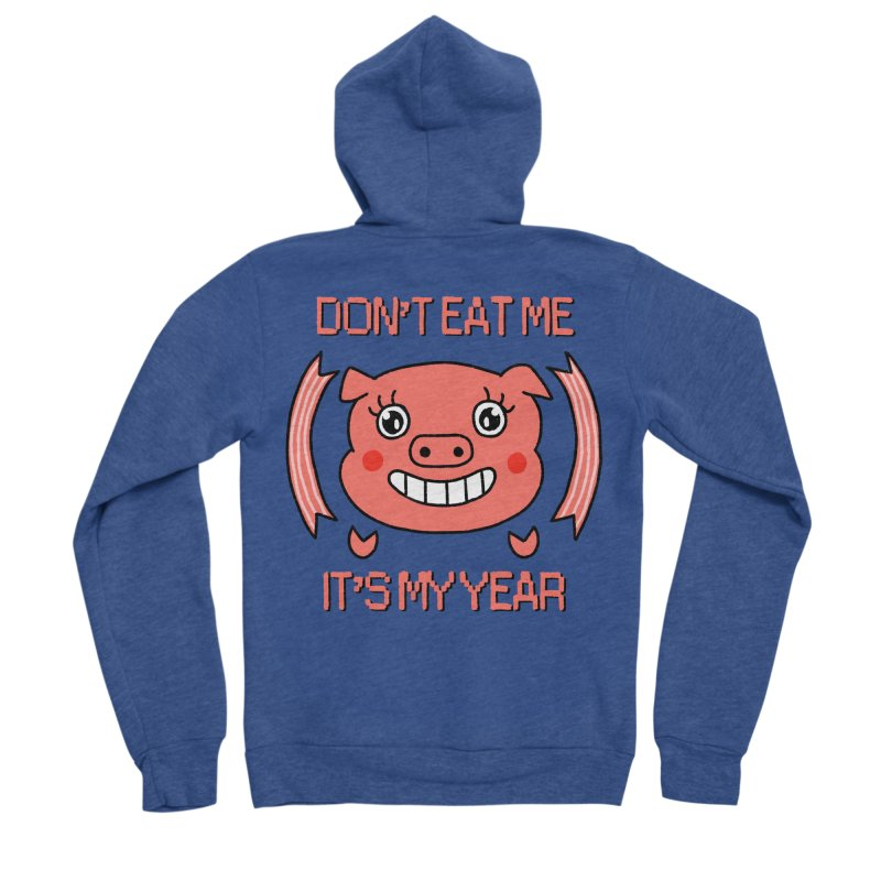 Year of the pig (don't eat me) Men's Sponge Fleece Zip-Up Hoody by Hello Siyi