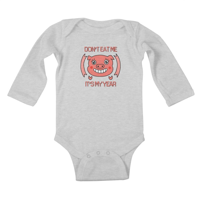 Year of the pig (don't eat me) Kids Baby Longsleeve Bodysuit by Hello Siyi