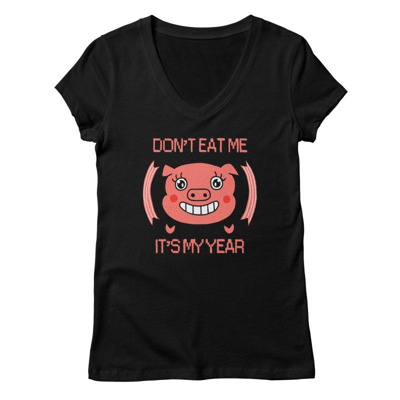 Year of the pig (don't eat me) Women's V-Neck by Hello Siyi