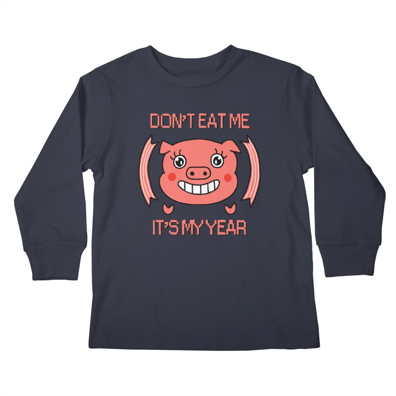Year of the pig (don't eat me) Kids Longsleeve T-Shirt by Hello Siyi
