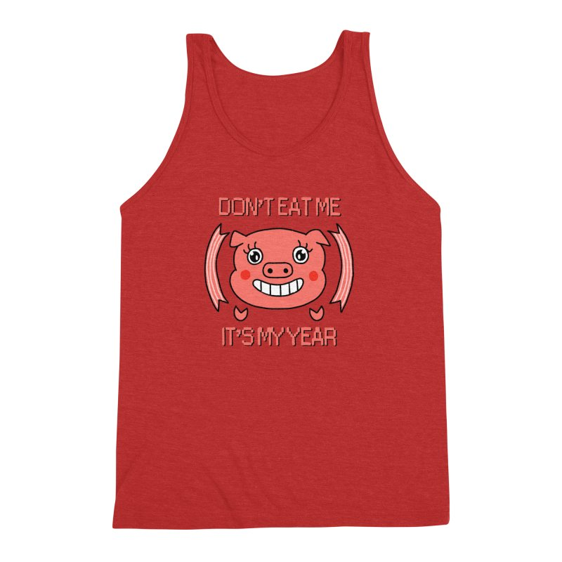 Year of the pig (don't eat me) Men's Triblend Tank by Hello Siyi
