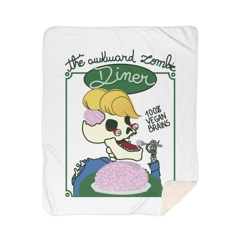 The Awkward Zombie Diner Home Sherpa Blanket Blanket by Hello Siyi