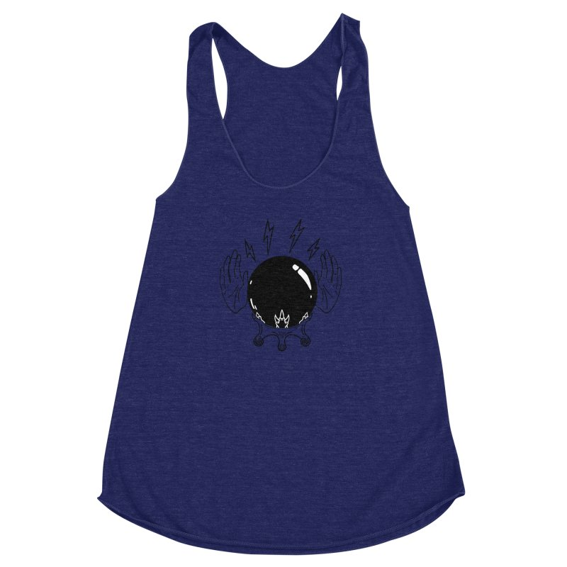 Crystal Ball (on white) Women's Racerback Triblend Tank by Hello Siyi