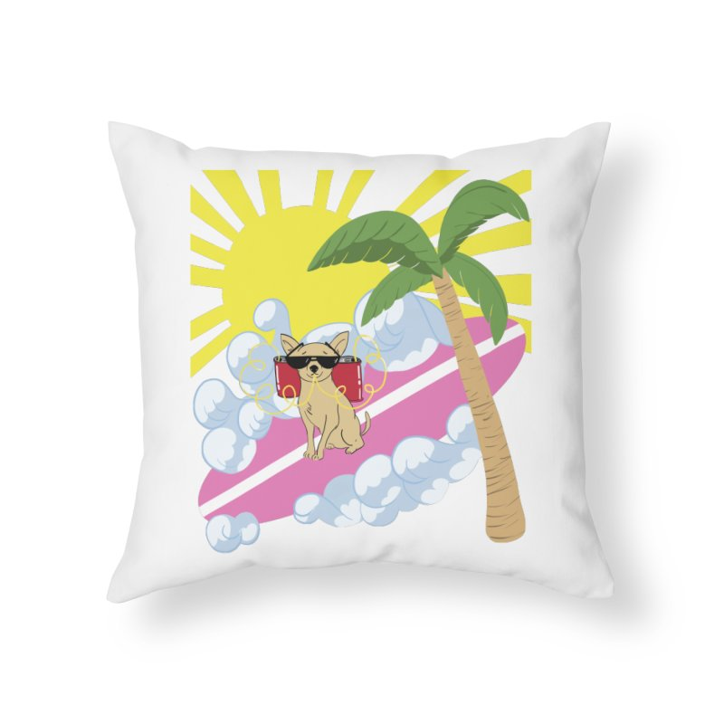 Chihuahua Summer Home Throw Pillow by Hello Siyi