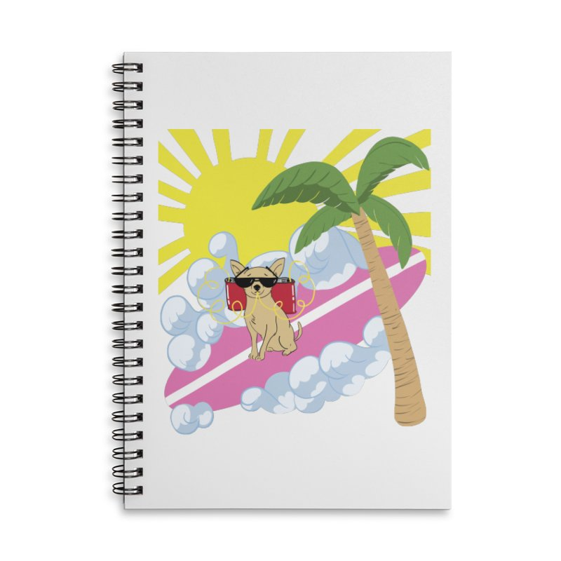 Chihuahua Summer Accessories Lined Spiral Notebook by Hello Siyi