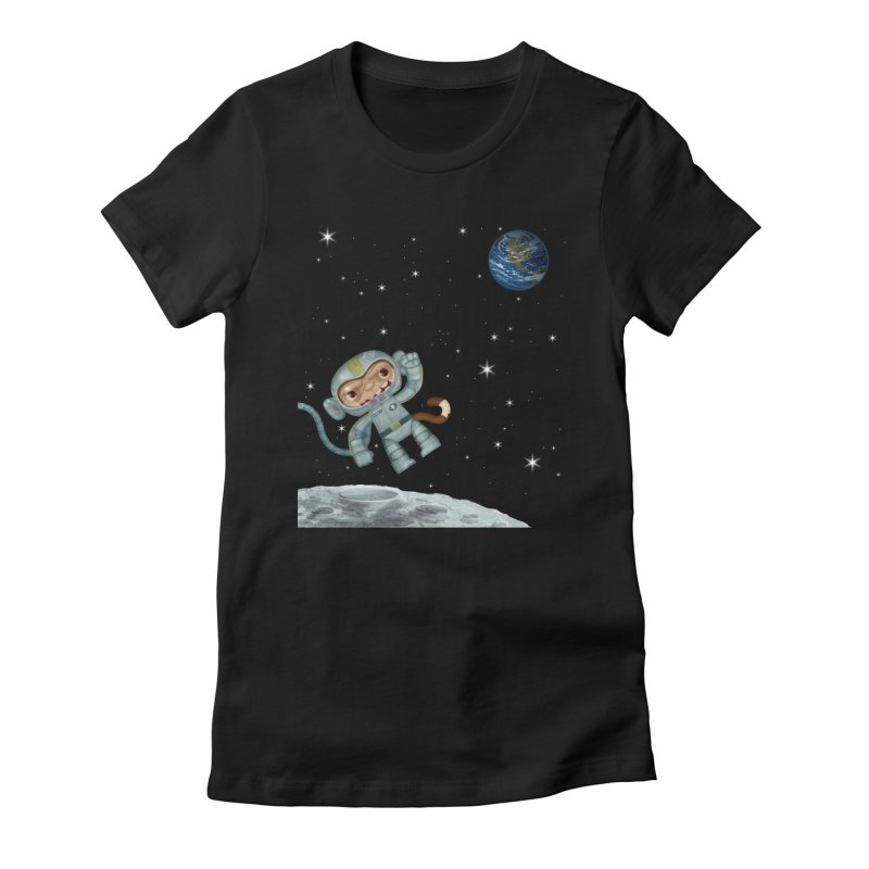 Space Monkey - Albert X Women's Fitted T-Shirt by SJdzyn's Artist Shop