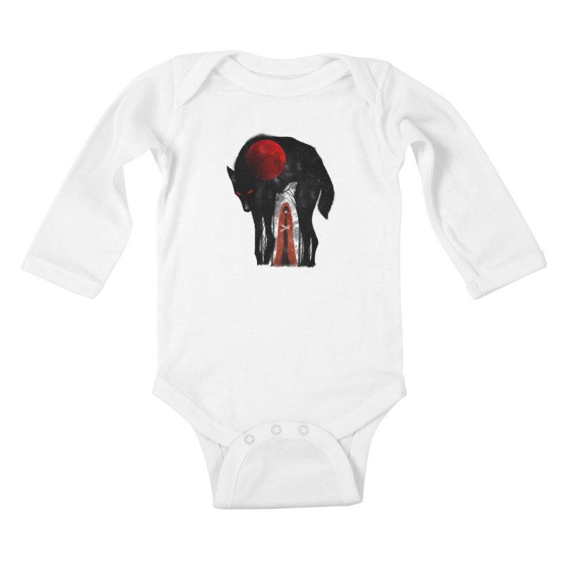 Red Moon Kids Baby Longsleeve Bodysuit by skaryllska's Artist Shop
