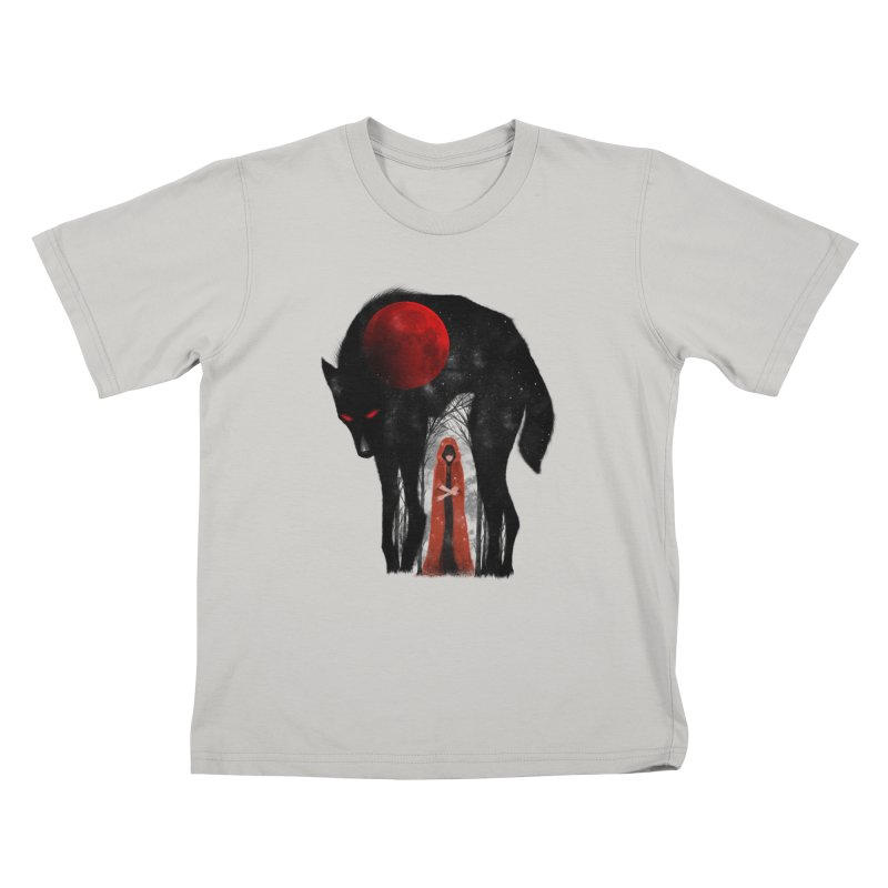 Red Moon Kids T-shirt by skaryllska's Artist Shop