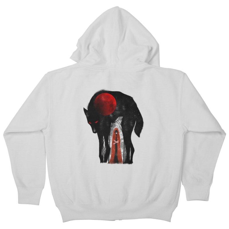 Red Moon Kids Zip-Up Hoody by skaryllska's Artist Shop
