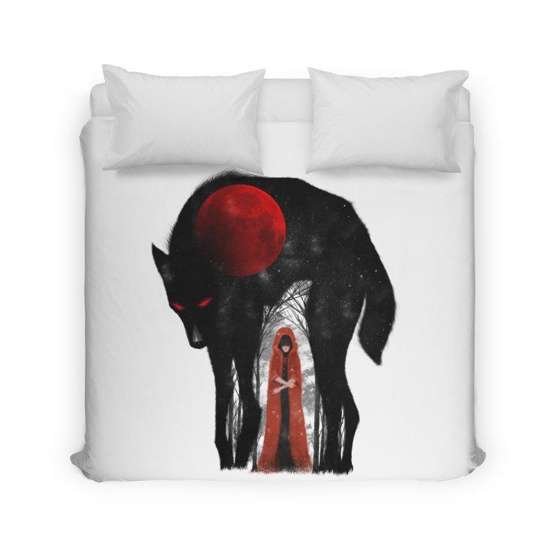 Red Moon Home Duvet by skaryllska's Artist Shop