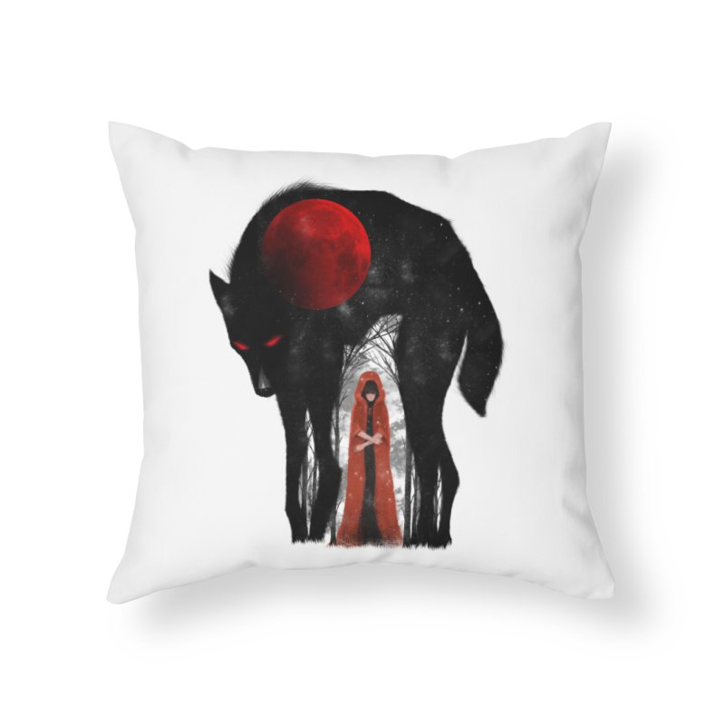 Red Moon Home Throw Pillow by skaryllska's Artist Shop